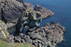 Sea Arch. On the Pembrokshire coast line near St Davids stock image