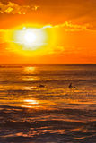 Sea Avalon Orange Sun Vert. Colourful orange sunrise over sea horizon with surfers floating and waiting to ride a wave off Avalon beach in Sydney, Australia Stock Photos