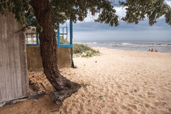 Sea of Azov beach. Cloudy weather in russian coast of Azov sea Royalty Free Stock Photography