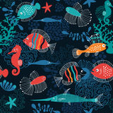 Sea background. Seamless pattern with fishes Stock Photography