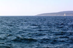 Sea background. Sea coast and boat stock photography