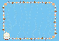 Sea background. Frame with sea shells, vector illustration, CDR file included Stock Photo