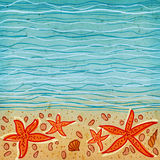 Sea background. Sea waves background with some shells and star-fishes at the bottom Stock Photo