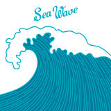 Sea background with abstract hand drawn waves. Template for invitation and greeting cards Stock Photos