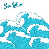 Sea background with abstract hand drawn waves. Template for invitation and greeting cards Stock Photo