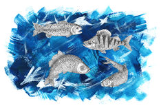 Sea background with fish Royalty Free Stock Photography