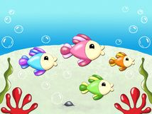Sea background with fishes stock photography