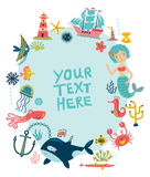 Sea background. Frame with characters. Sea characters. vector background. frame for text Stock Photography