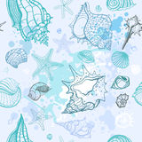 Sea background. Hand drawn  illustration Stock Photography