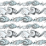 Sea background. Hand drawn  illustration Stock Images