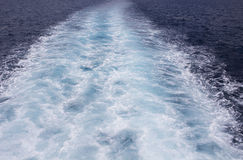Sea background image with white foamy wave. Ferry travel Royalty Free Stock Photos