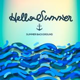 Sea background with lettering Hello Summer, vector Illustration. Sea background with lettering Hello Summer, vector Illustration Royalty Free Stock Images