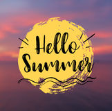Sea Background with Lettering Hello Summer. Vector Illustration. Hello Summer card. Sea Background with Lettering Hello Summer. Can be used for poster, flyer Royalty Free Stock Photo