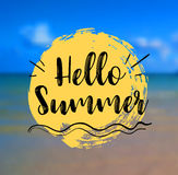Sea Background with Lettering Hello Summer. Vector Illustration. Hello Summer card. Sea Background with Lettering Hello Summer. Can be used for poster, flyer Royalty Free Stock Image