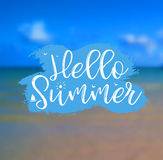Sea Background with Lettering Hello Summer. Vector Illustration. Hello Summer card. Sea Background with Lettering Hello Summer. Can be used for poster, flyer Stock Photos