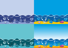 Sea background, marine vector seamless pattern Stock Images