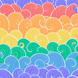 Sea background. Nautical seamless pattern. Colorful waves background. Cartoon sea pattern in rainbow colors Stock Image