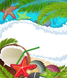 Sea background with  palm trees and coconut cocktail Royalty Free Stock Images