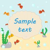 Sea background. Seabed background with colorful fish and a place for an inscription on the shell stock illustration