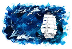 Sea background with ship and gulls. Painted blue background with sailing ship and gulls, illustration with copy space and hand drawn design elements Royalty Free Stock Images