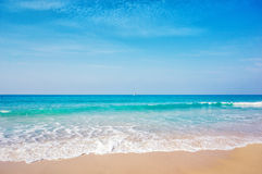 Sea background. Soft wave of the sea on the sandy beach Royalty Free Stock Photo