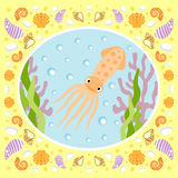 Sea background with squid Royalty Free Stock Image