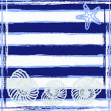 Sea background. Striped card with sea shells and starfish. Stock Images