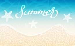 Sea background and summer lettering creative design, stock vecto. R illustration Stock Photos