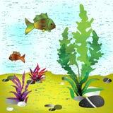 Sea background. Vector illustration Stock Photo