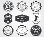 Sea Badges 2 BW. Vector badges for any use royalty free illustration