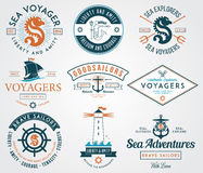 Sea Badges colored Stock Photos