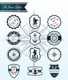 Sea Badges and Labels. Sea inspired set of badges and crests eps10 vector format stock illustration