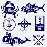 Sea badges. Sea life vintage design badges Stock Photos