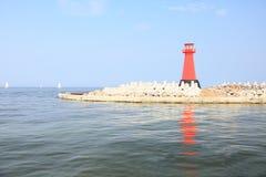 Sea baltic lighthouse in Gdansk, Poland. Outdoor Polish Danzig, Danzing Royalty Free Stock Photo