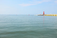 Sea baltic lighthouse in Gdansk, Poland. Outdoor Polish Danzig, Danzing Royalty Free Stock Photography