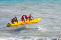 By sea banana boat rides Stock Photo