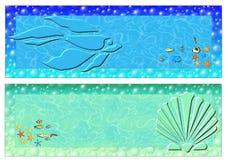 Sea banner. Set of two banner-Marine life stock illustration