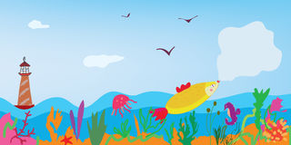 Sea banner with fish, nature. And lighthouse cute card Royalty Free Stock Images