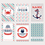 Sea banners. Vector card templates. Stock Photography