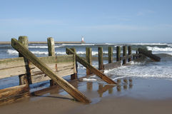 Sea barrier at Spittal Stock Images