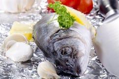 Sea bass on an aluminum foil Stock Photo
