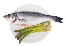 Sea bass with asparagus Stock Photo