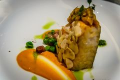 Sea Bass Carpaccio with Caviar and Green Apple Powder. royalty free stock photo