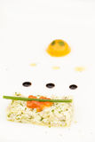 Sea bass ceviche with ginger, salmon caviar, mango puree and pes Royalty Free Stock Image