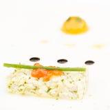 Sea bass ceviche with ginger, salmon caviar, mango puree  Stock Photography