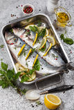 Sea bass before cooking Royalty Free Stock Images