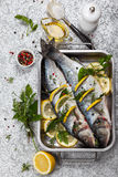 Sea bass before cooking Stock Images