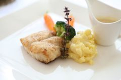 Sea bass fillet. In close up royalty free stock image