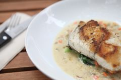 Sea bass fillet. On a plate stock image