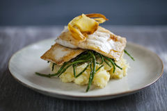Sea bass fillet with parsnip crisps Stock Images